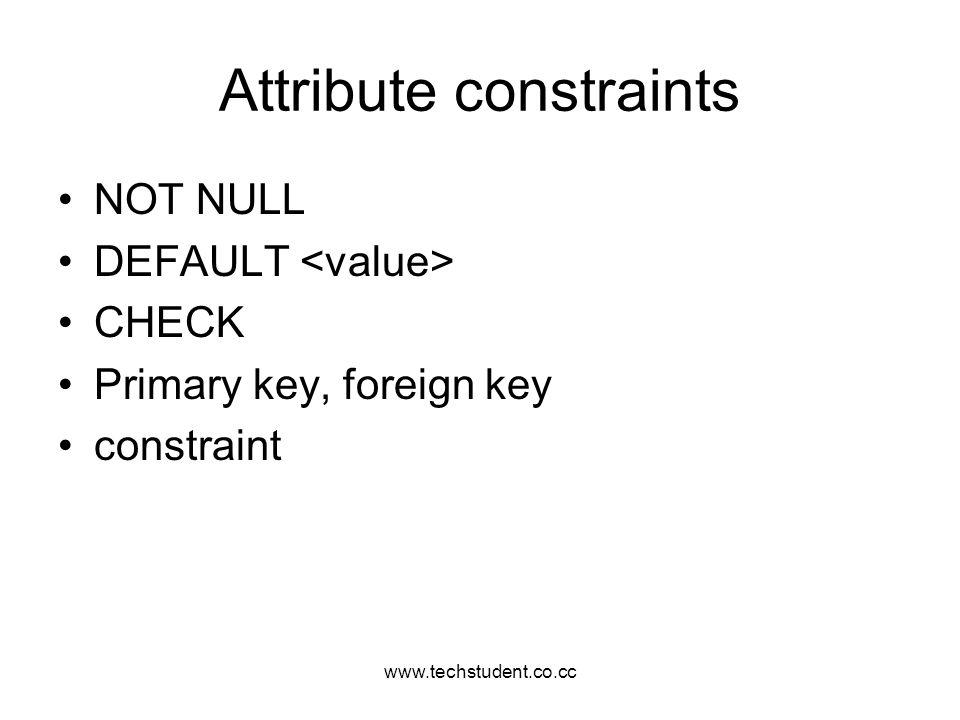 Attribute constraints