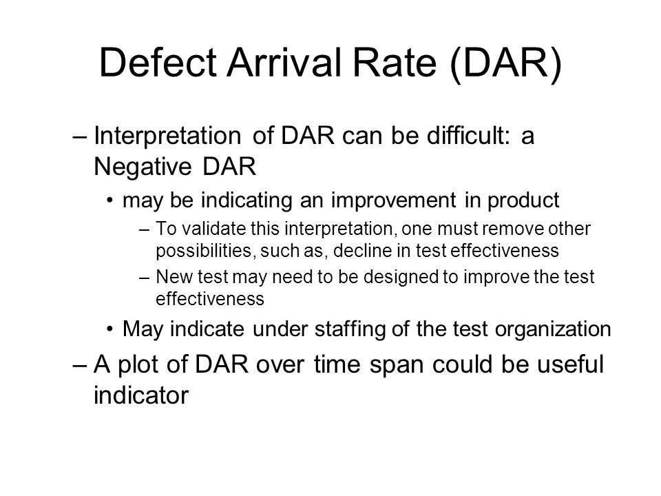 Defect Arrival Rate (DAR)