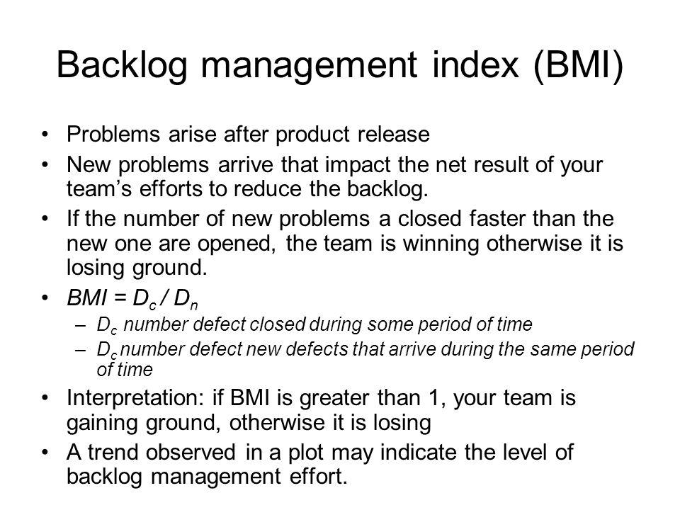 Backlog management index (BMI)
