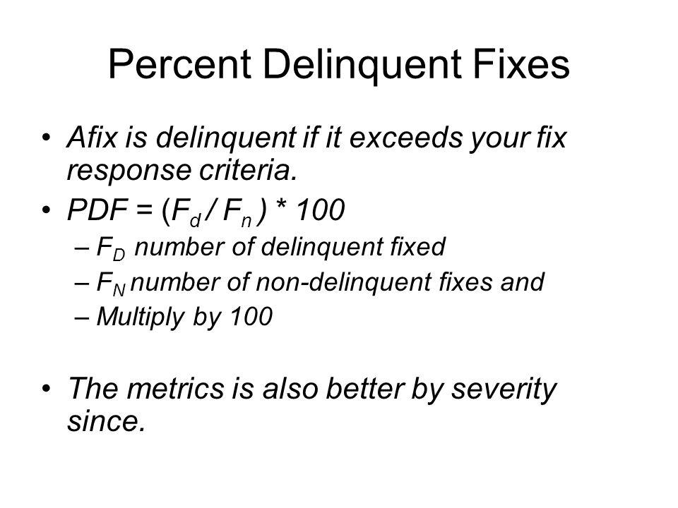 Percent Delinquent Fixes