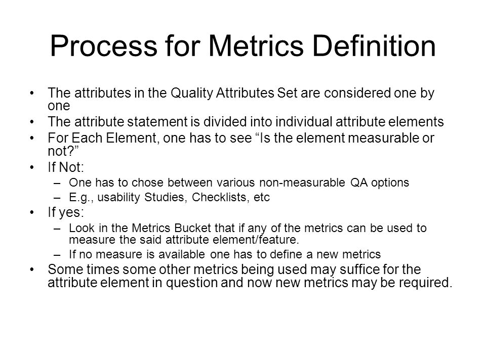 Process for Metrics Definition