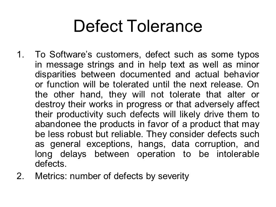 Defect Tolerance