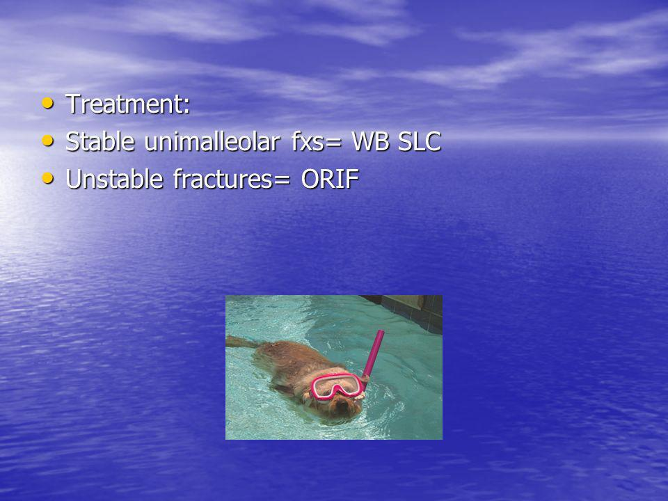 Treatment: Stable unimalleolar fxs= WB SLC Unstable fractures= ORIF
