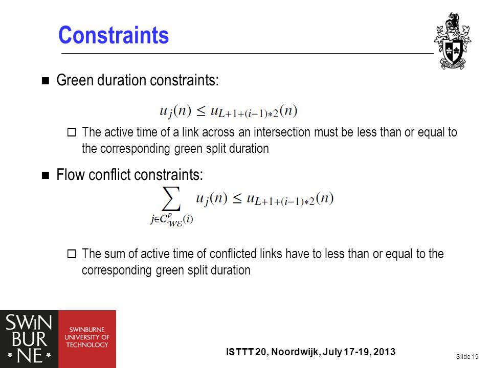 Constraints Green duration constraints: Flow conflict constraints: