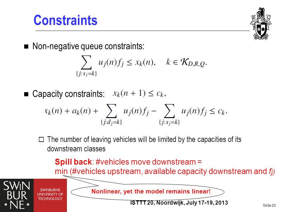 Constraints Non-negative queue constraints: Capacity constraints: