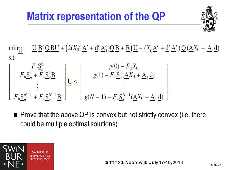 Matrix representation of the QP