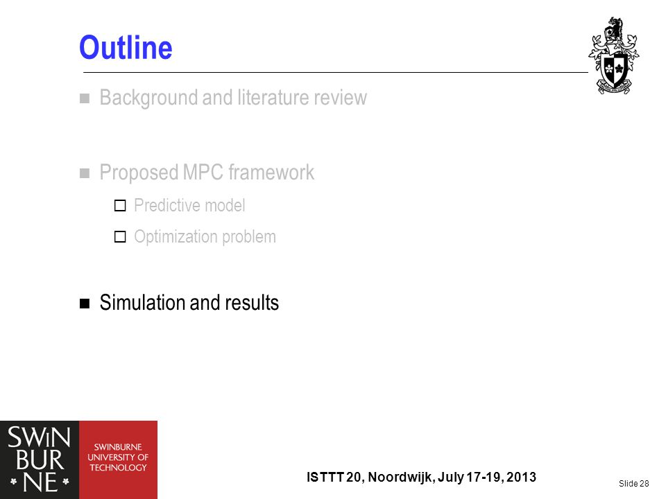 Outline Background and literature review Proposed MPC framework