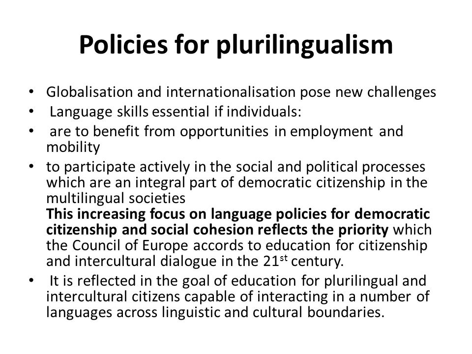 Policies for plurilingualism