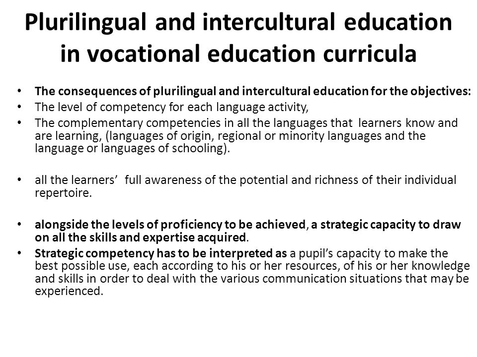 Plurilingual and intercultural education in vocational education curricula
