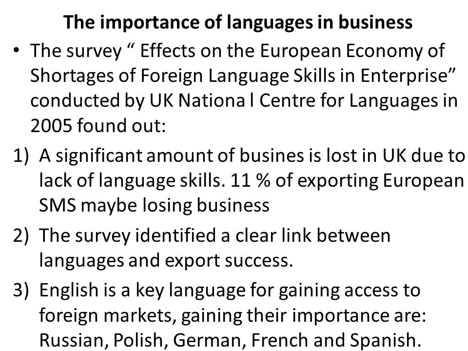 The importance of languages in business