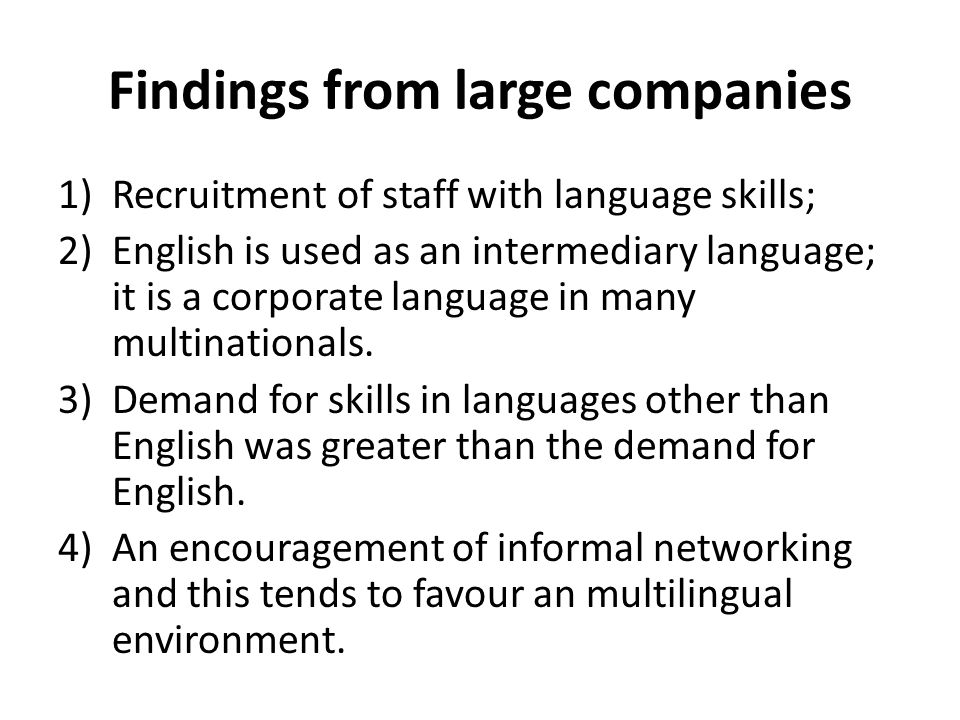 Findings from large companies