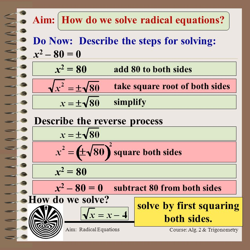 Aim: How do we solve radical equations