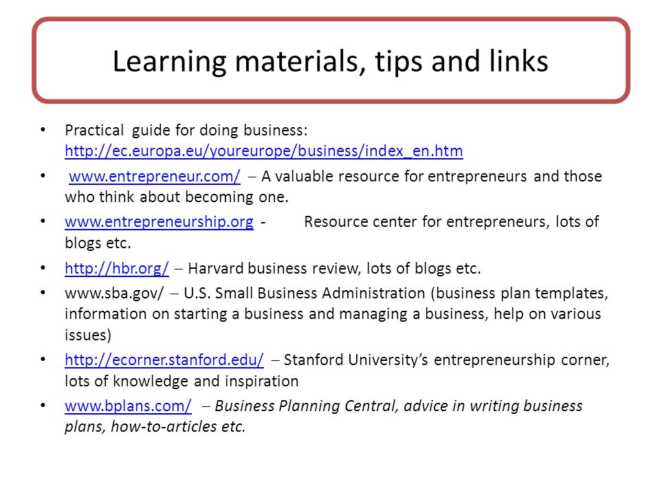 Learning materials, tips and links