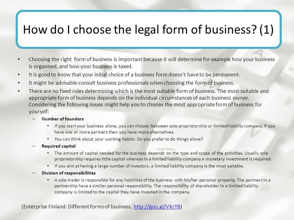 How do I choose the legal form of business (1)