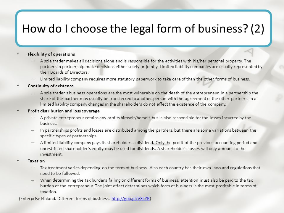 How do I choose the legal form of business (2)