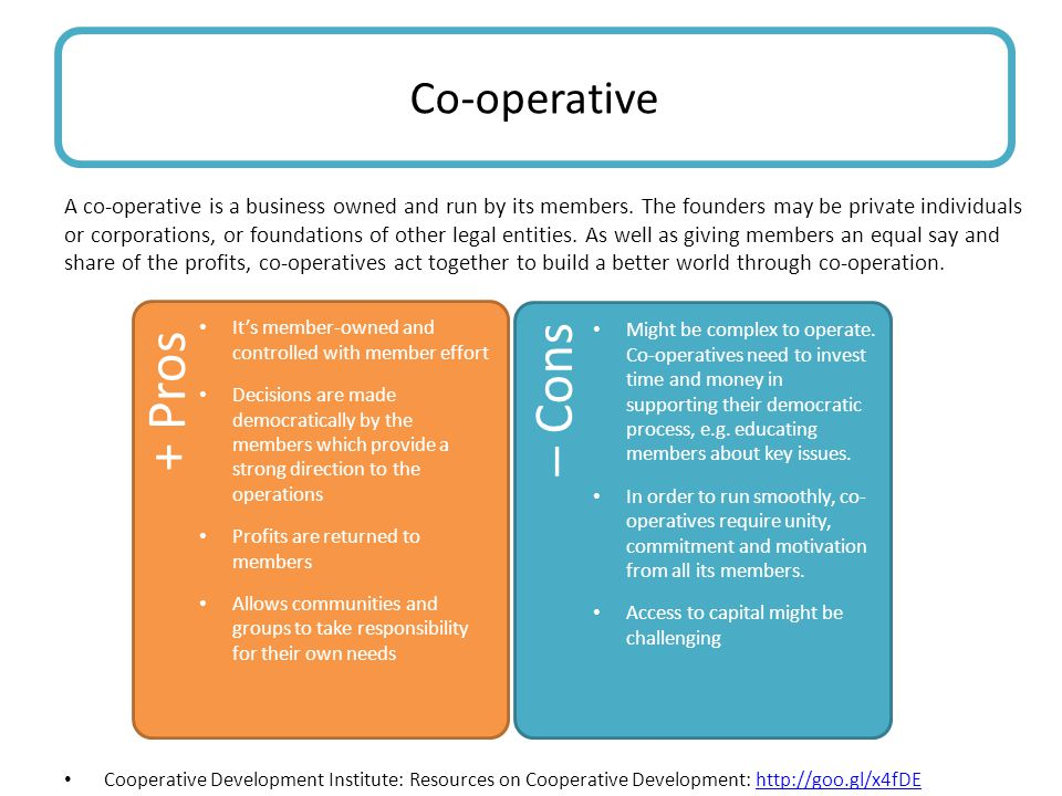 + Pros  Cons Pros Co-operative yonnn