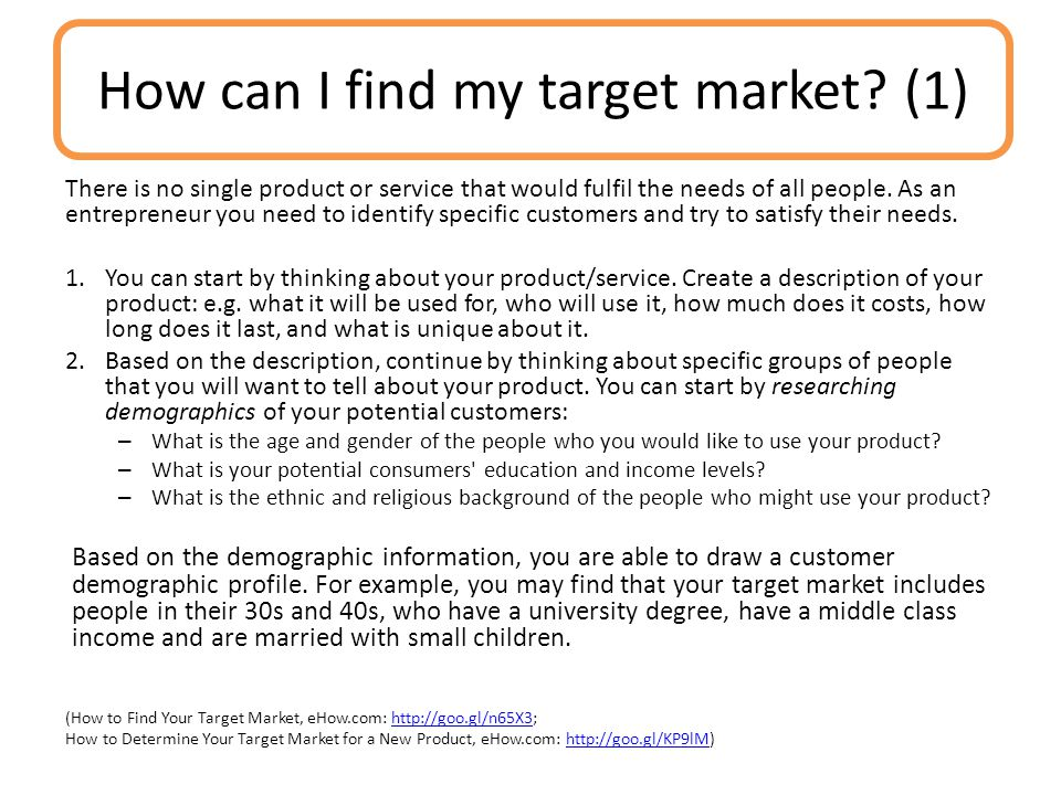 How can I find my target market (1)