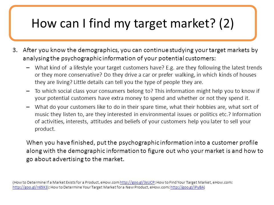 How can I find my target market (2)