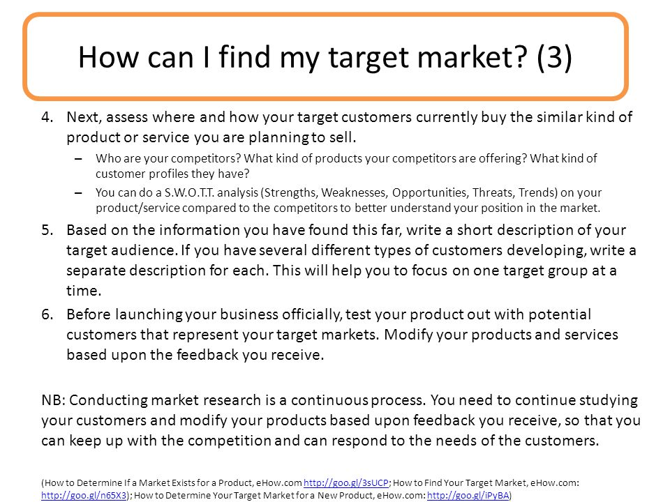 How can I find my target market (3)