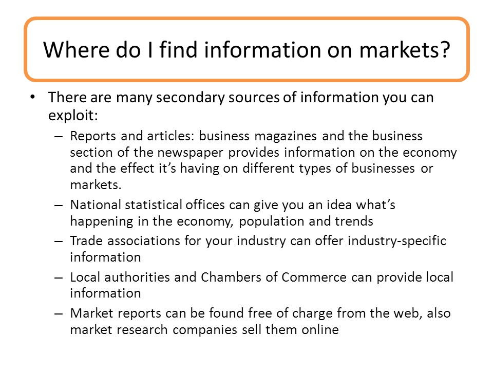 Where do I find information on markets