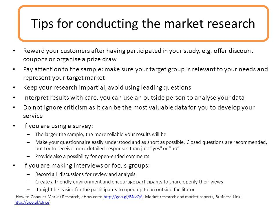Tips for conducting the market research