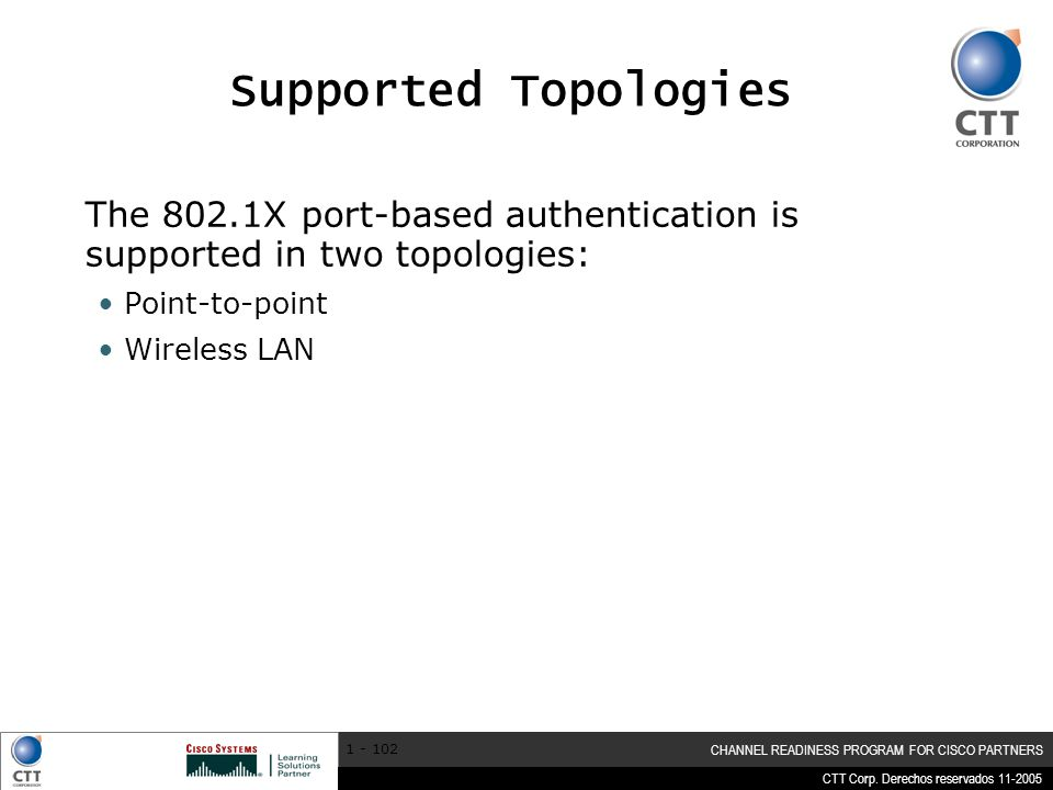 Supported Topologies The 802.1X port-based authentication is supported in two topologies: Point-to-point.