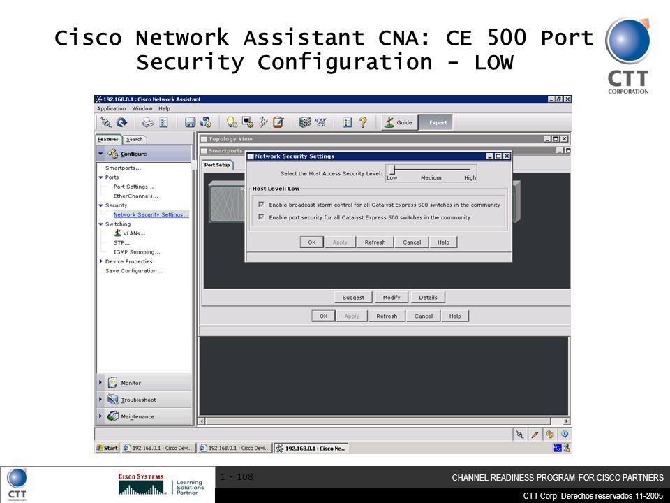Cisco Network Assistant CNA: CE 500 Port Security Configuration - LOW