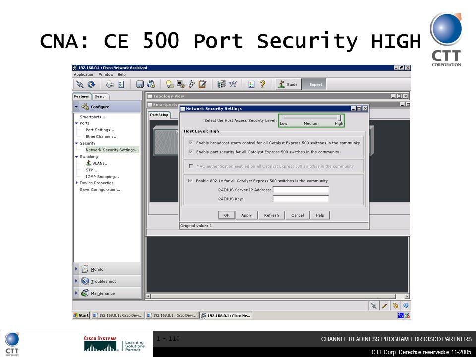 CNA: CE 500 Port Security HIGH