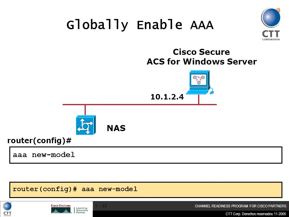 Globally Enable AAA Cisco Secure ACS for Windows Server NAS