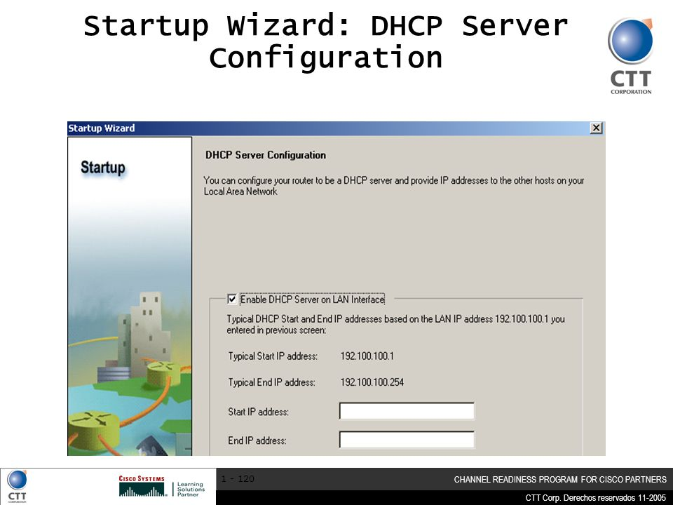 Startup Wizard: DHCP Server Configuration