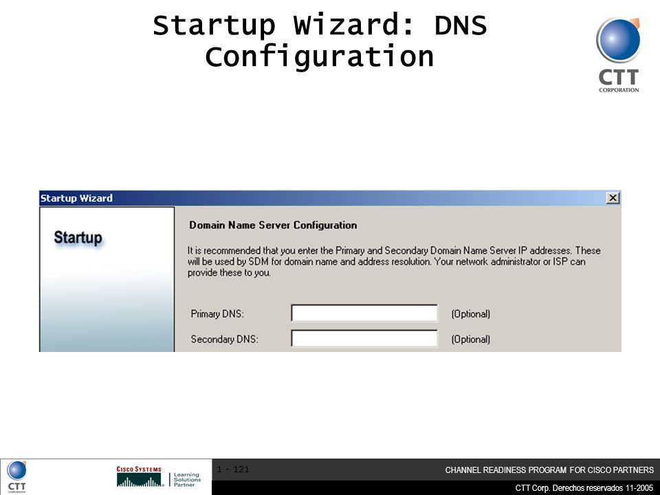 Startup Wizard: DNS Configuration
