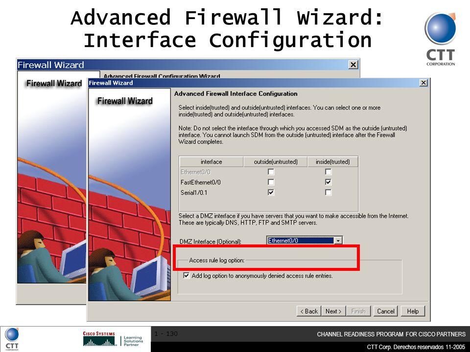 Advanced Firewall Wizard: Interface Configuration