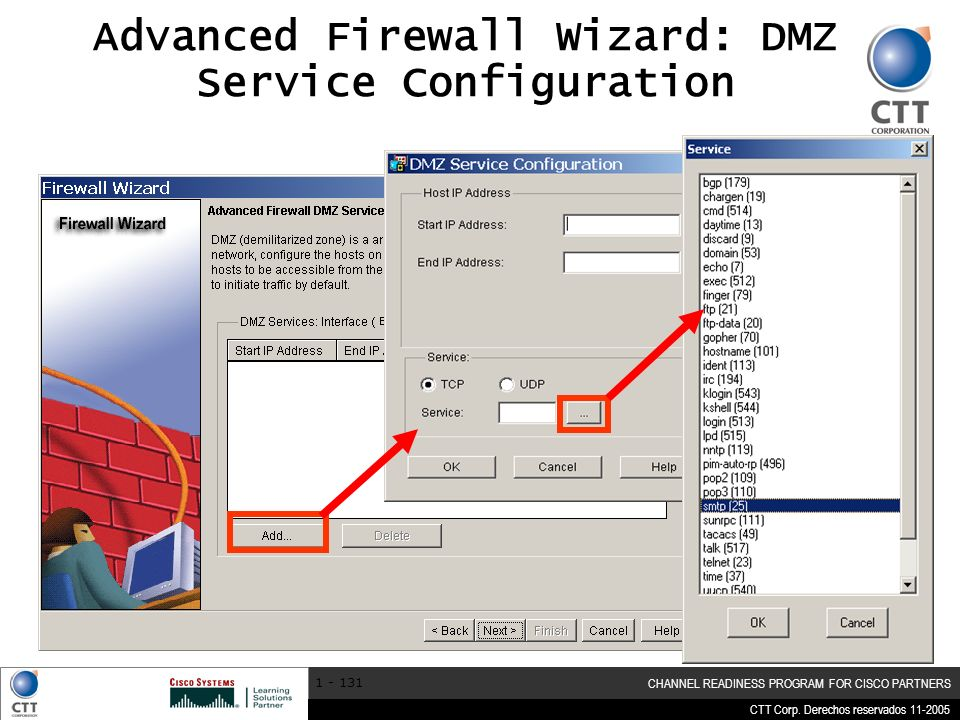 Advanced Firewall Wizard: DMZ Service Configuration