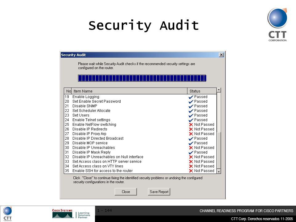 Security Audit Click the Security Audit mode to begin.