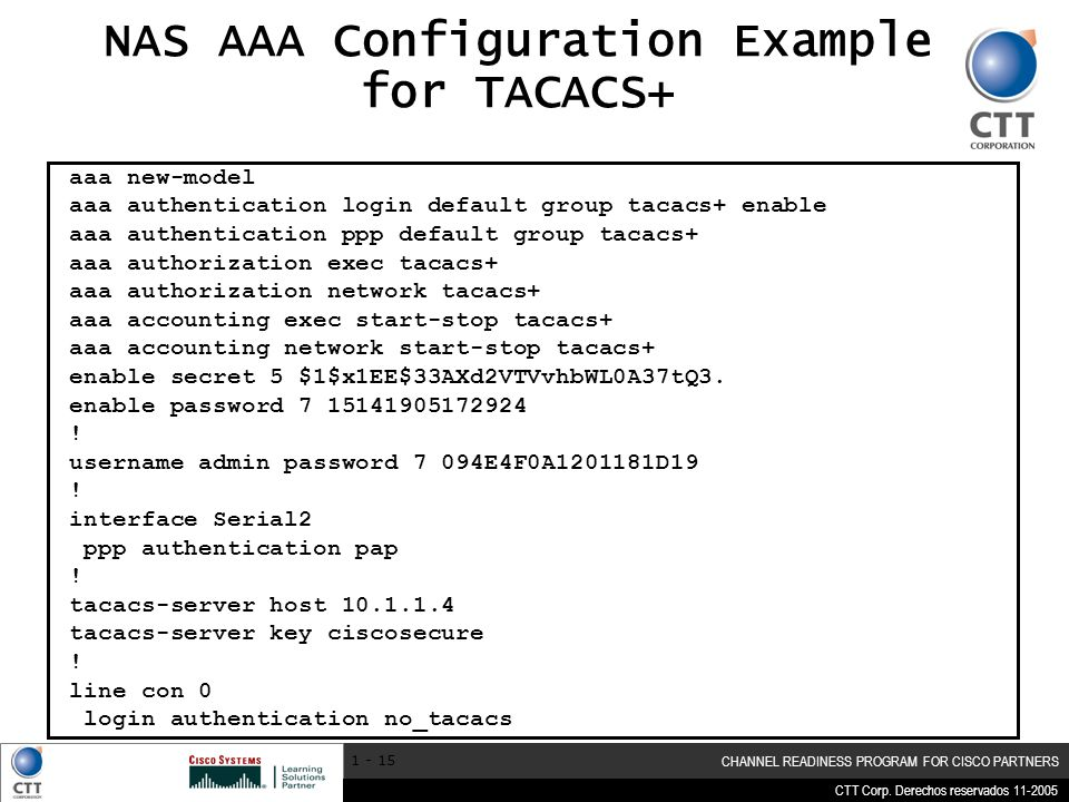 NAS AAA Configuration Example for TACACS+
