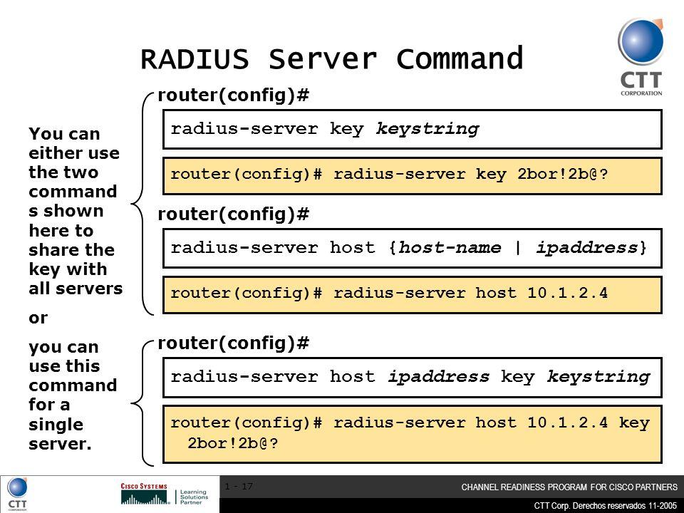 RADIUS Server Command radius-server key keystring