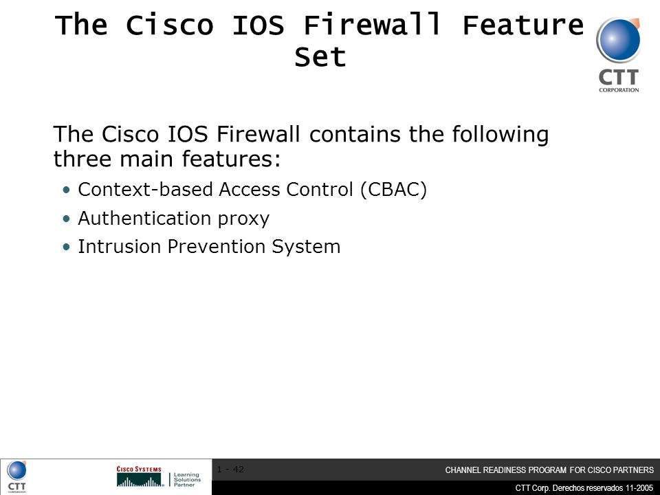 The Cisco IOS Firewall Feature Set
