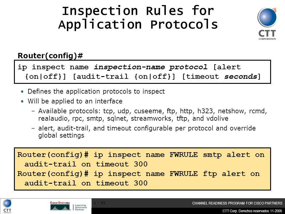 Inspection Rules for Application Protocols