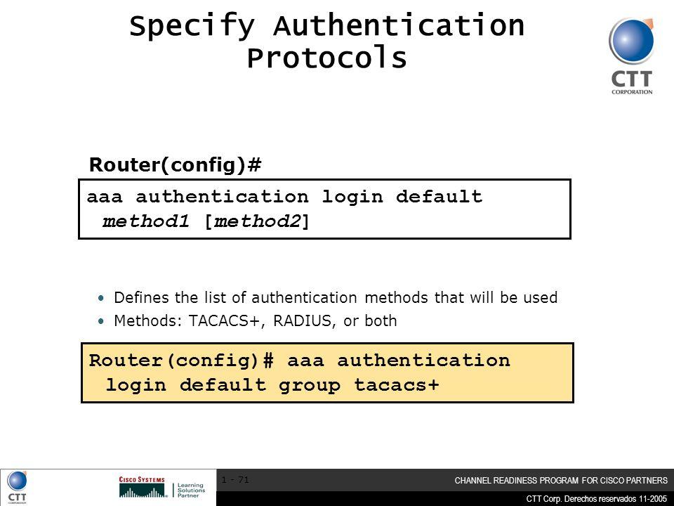 Specify Authentication Protocols