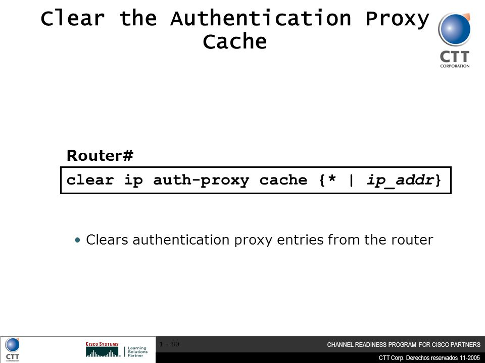 Clear the Authentication Proxy Cache