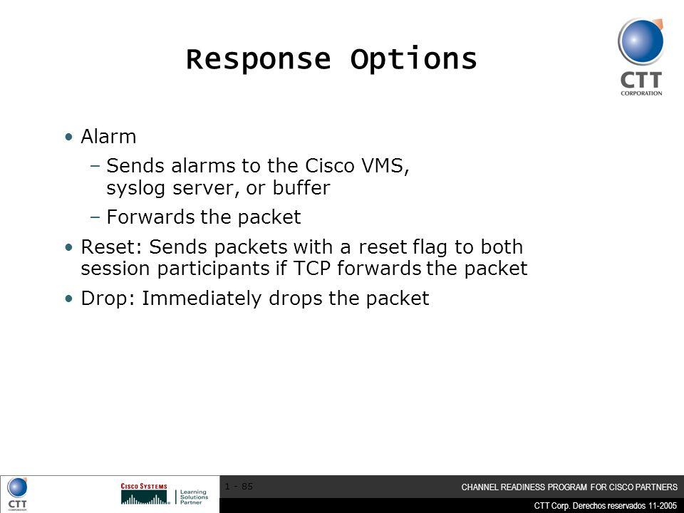 Response Options Alarm