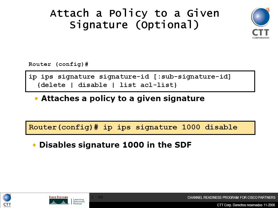 Attach a Policy to a Given Signature (Optional)