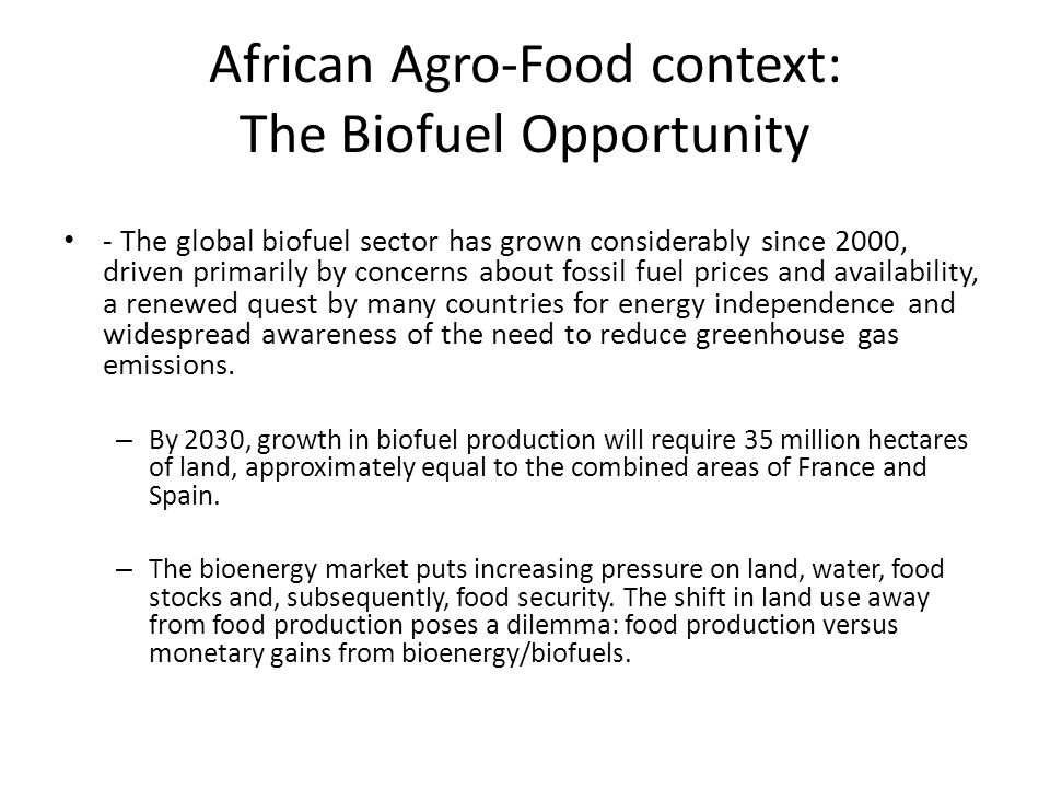 African Agro-Food context: The Biofuel Opportunity