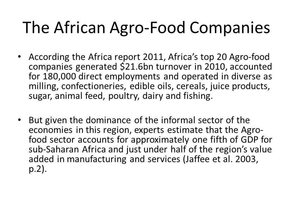 The African Agro-Food Companies