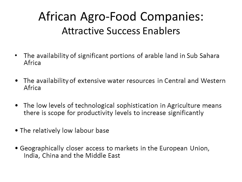 African Agro-Food Companies: Attractive Success Enablers