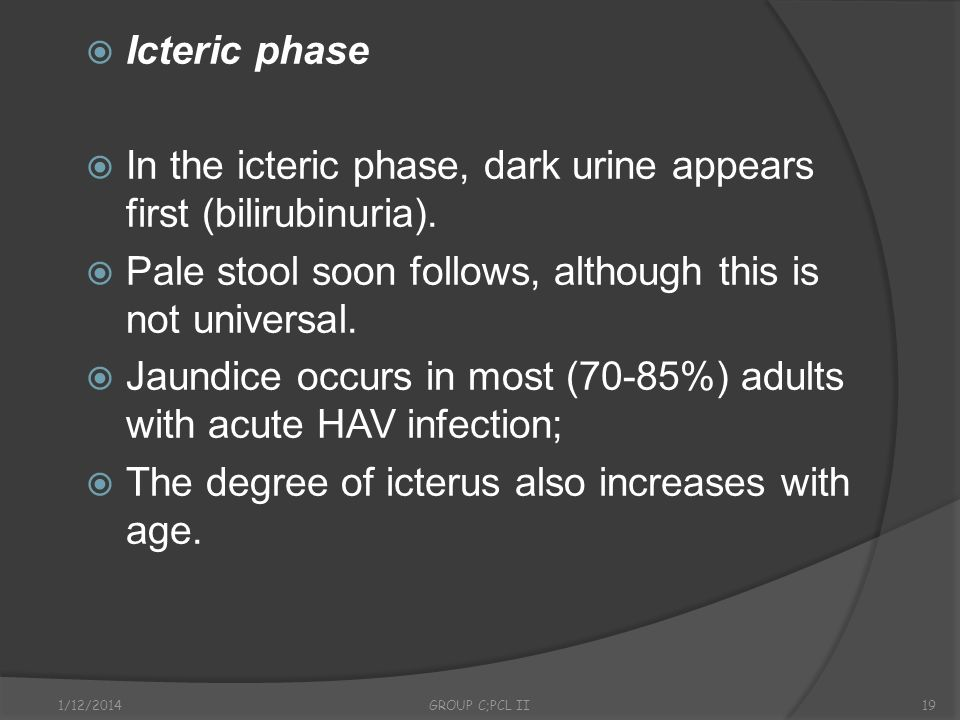 In the icteric phase, dark urine appears first (bilirubinuria).
