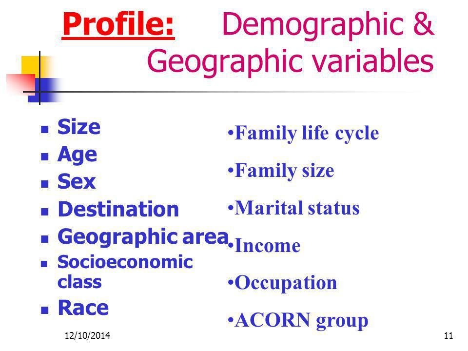 Profile: Demographic & Geographic variables