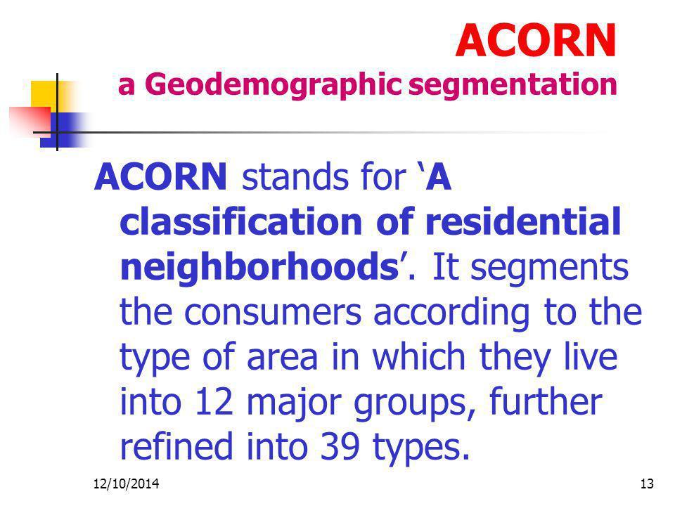 ACORN a Geodemographic segmentation
