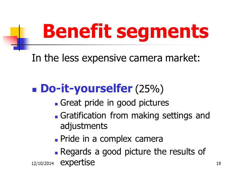 Benefit segments Do-it-yourselfer (25%)