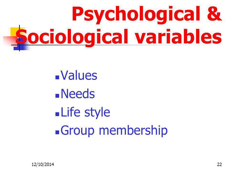 Psychological & Sociological variables